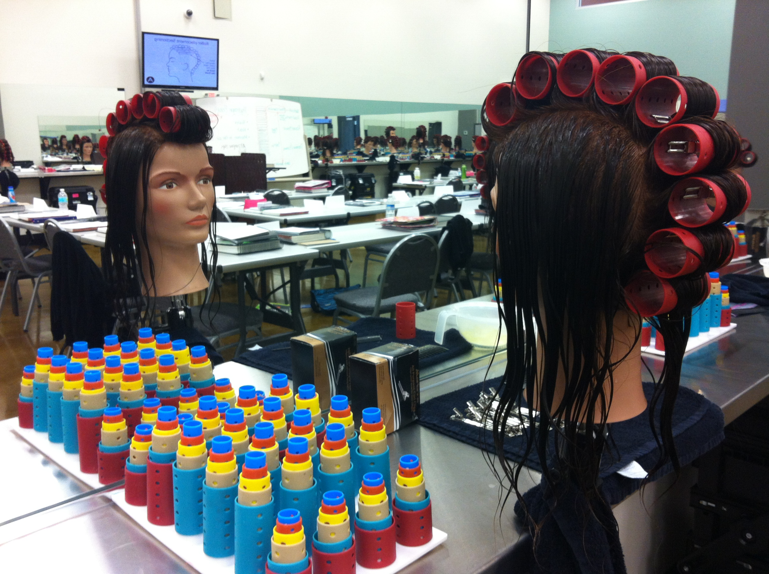 cosmtology school learning education hair rollers