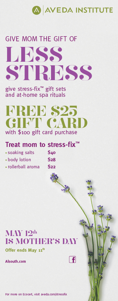 AVEDA beauty school mother's day deals