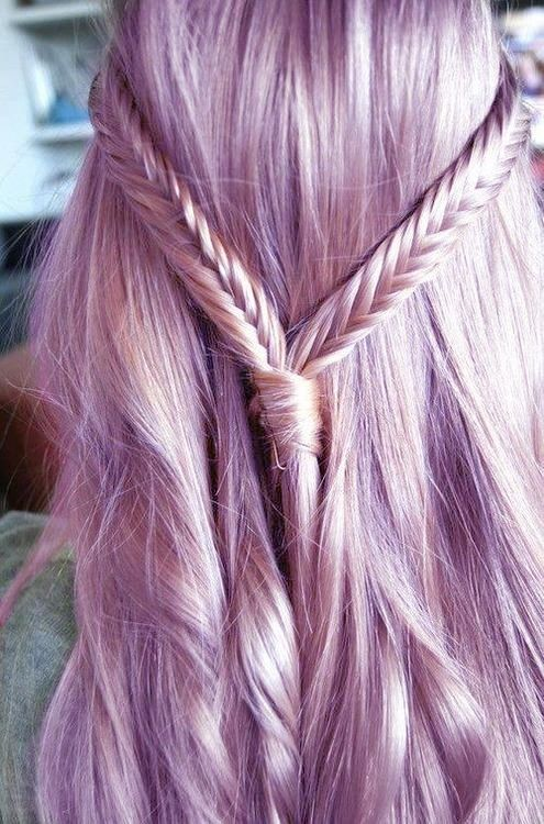 purple hair with braid