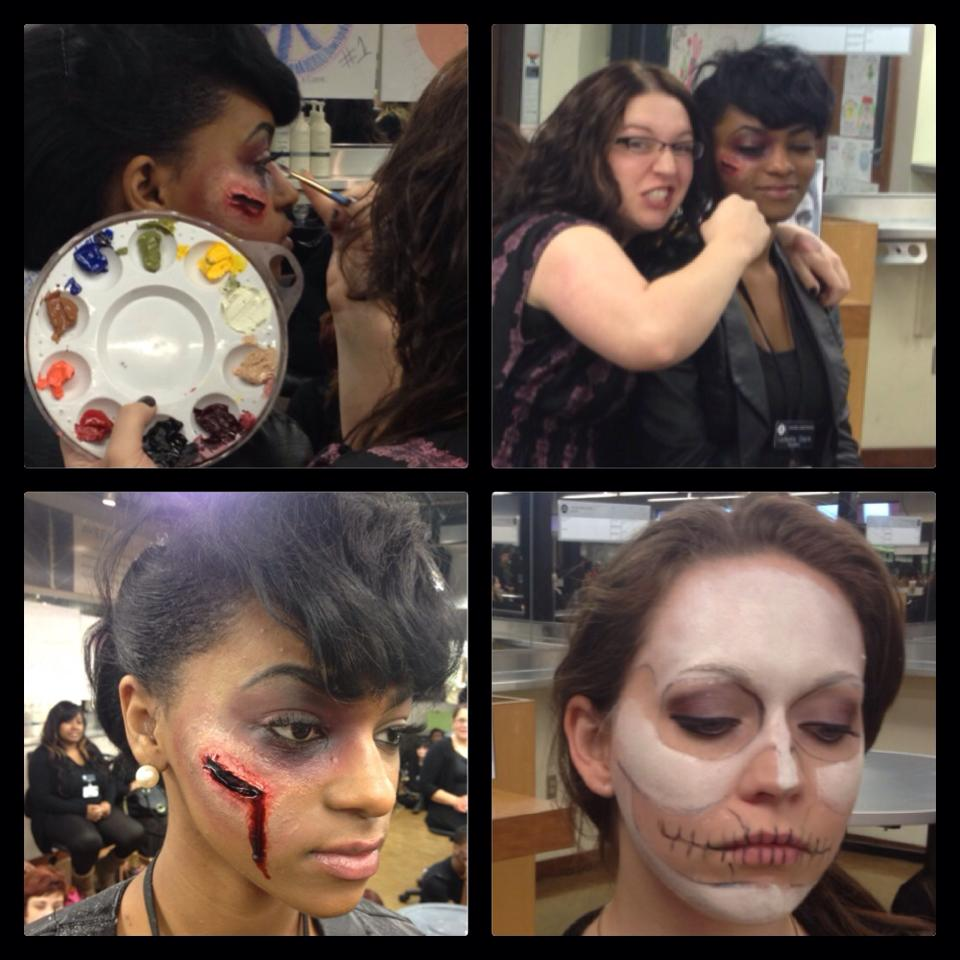 New Orleans beauty school Halloween makeup