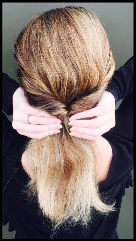 Fourth step to creating chignon bun
