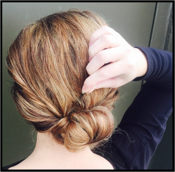 fifth step to creating chignon bun