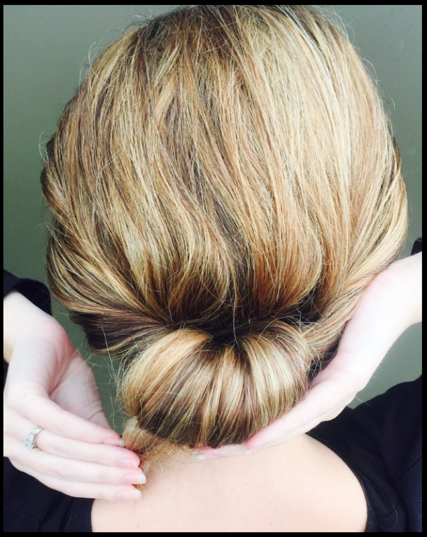 Sixth step to creating soft chignon bun